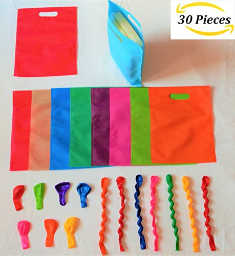 (EasyCarried brand 30 Bags with 10 Balloons,Party favor Bags for Kids Birthday Gift Bag with Handles Polyester Non-Woven Material Reusable Kids Shopping Grocery tote Bag 8