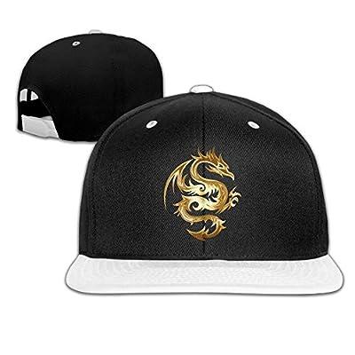 WellShopping Gold Color Dragon Solid Flat Bill Snapback Baseball Hat Hip Hop Unisex Custom Fashion Cap