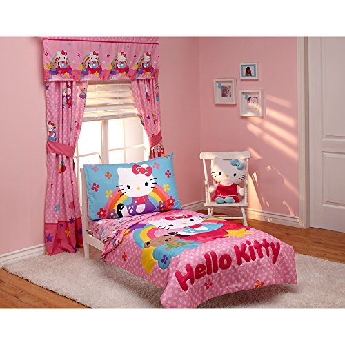 Hello Kitty Crib Bedding Set (Hello Kitty Stars and Rainbows 4-piece Toddler Bedding Set)