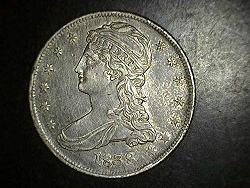1838 BUST HALF DOLLAR 50c AU+ LETTERED EDGE