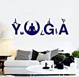 BorisMotley Wall Decal Yoga Studio Meditation Pose Vinyl Removable Mural Art Decoration Stickers for Home Bedroom Nursery Living Room Kitchen