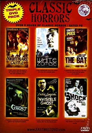 CLASSIC HORRORSTriple DVD Pack and double feaure 6 Classic Tales Of Fright Nightmare Castle+White Zombie+The Bat+The Ghost+The Invisible Ghost+Shock: Amazon.es: Cine y Series TV