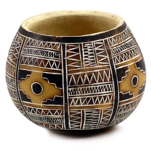 "5"" Gourd Bowl Geometric Hand Carved Peru Original"
