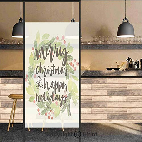 - 3D Decorative Privacy Window Films,New Year and Happy Holiday Rustic Wreath Berries and Evergreen Image,No-Glue Self Static Cling Glass Film for Home Bedroom Bathroom Kitchen Office 17.5x71 Inch