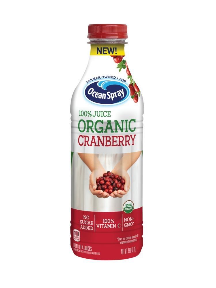 Ocean Spray 100% Juice, Organic Cranberry, 1 Liter Bottle