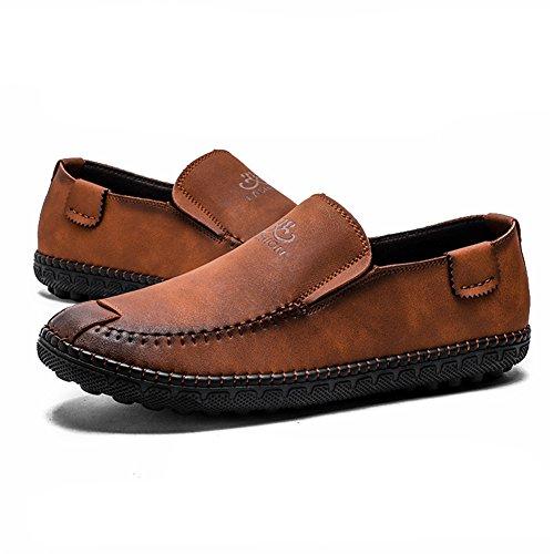 Mocasines Hombre Slip Oscuro Nubuck Zapatos on Conducción Artesanal Marrón Retro Classic Viajar SSqrdOH
