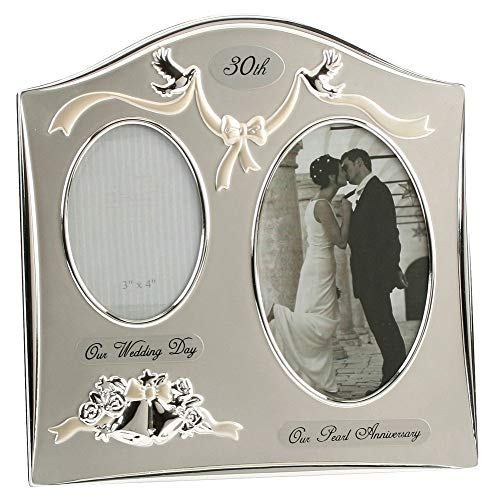 Haysom Interiors Two Tone Silver Plated 30th Pearl Anniversary Double Picture Frame by Happy Homewares ()