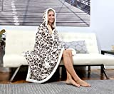 "Chic Home Agot BRAND NEW!! Ultra plush sherpa lined Snuggle up animal print hoodie wearable blanket 51""x71"" Robe Black"