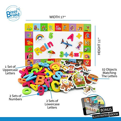 Alphabet Magnets + Matching A-Z Objects / ABC Magnets, Numbers and Board + E-Book with 35 Learning & Spelling Games Included | Magnetic Letters and Numbers for Toddlers by BizzyBrainz (Image #1)