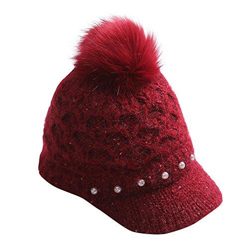 URIBAKE Women's Crochet Winter Knit Wool Pearl Peaked Caps Hat POM POM Bulb Warm ()