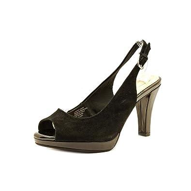 Giani Bernini Womens Benette Canvas Peep Toe SlingBack Classic Black Size 5.5