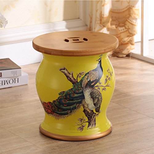 Stool Shoe Bench Silver Ceramic Drum Stool Craft Porcelain Vanity Dressing Stool Shoe Bench Home Decoration Storage Hand-painted Table Pier Leisure Stool Sofa Foot 27X31CM 0612A ( Color : Yellow )