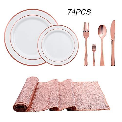 YHT-Mil 74 PCS Rose Gold Disposable Cutlery Set Includes 2 Pieces Glitter Rose Gold Table Runner, Dinner Plates Salad Plates,Forks,Knives Spoons,Mini Forks For Wedding Birthday Party(Rose Gold) ()