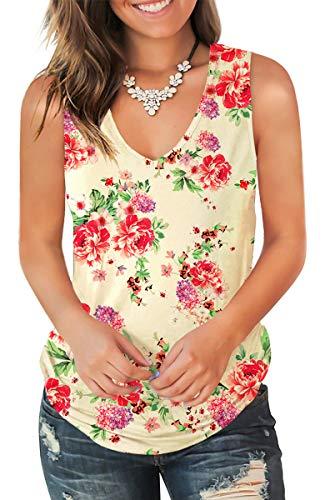 Jescakoo Cute Sleeveless Shirts Women Floral Printed V Neck Tank Tops Peony XL