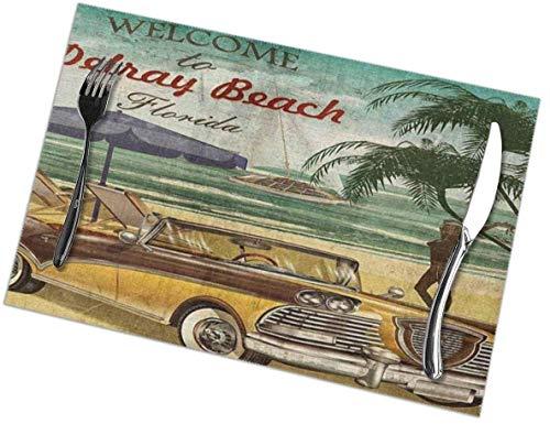Bienvenido a Delray Beach Florida Manteles Individuales para la Mesa de Comedor de la Cocina, Alfombrillas Lavables Alfombra de Aislamiento ter