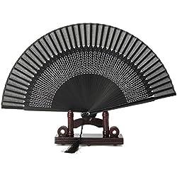 Agordo Elegant Carved Hand Held Folding Fans Bamboo Wood Silk Folding Fans Black