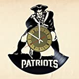 New England Patriots Vinyl Wall Clock Football Great Gift for Men, Women, Kids, Girls and Boys, Birthday, Christmas Beautiful Home Decor – Unique Design That Made Out of Vinyl LP Record
