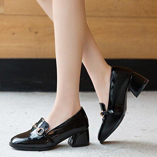 COOLCEPT Mujer Moda Sin Cordones Bombas Zapatos Cerrado Tacon Ancho Zapatos Negro