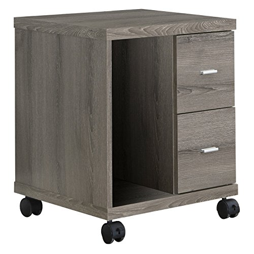 - Monarch Specialties I I 7056 Reclaimed-Look 2 Drawer Computer Stand/Castor, Dark Taupe