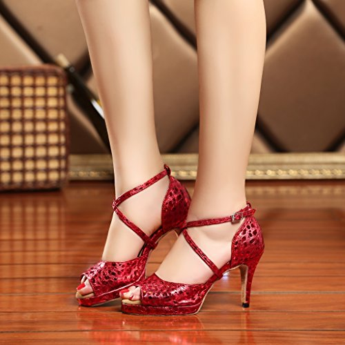 CRC Womens Stylish Peep Toe PU Leather Ballroom Morden Salsa Latin Tango Party Wedding Professional Dance Sandals Red 8tcTRY