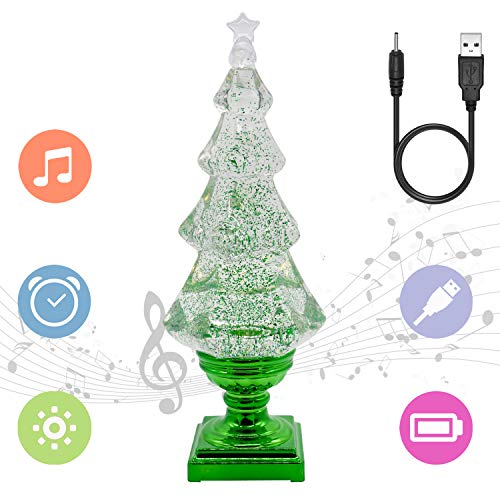 "Eldnacele Musical 14"" Light-up Christmas Tree Snow Globe Water Glittering Tree Clear Acrylic with USB Line and 6 Hours Timer for Home Decoration"