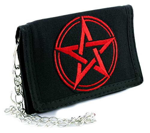 Pentagram Wallet (Wiccan Red Woven Pentagram Tri-fold Wallet Alternative Clothing Pagan Witchcraft)