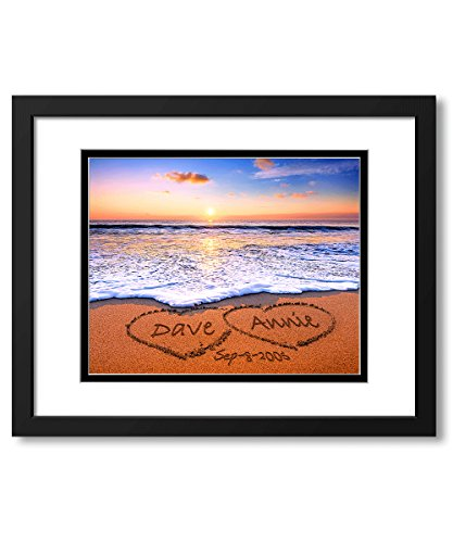 Love on Beach - Personalized Photo Prints with Lovers Names on, for Anniversary, Wedding. 14x11 with Double mats-UNFRAMED