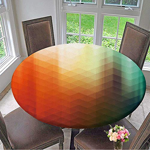 Pool Tablecloth Triangles (Mikihome Round Fitted Tablecloth Cyan and Orange Colored Polygonal Vector Background with Triangles and Light Rays Overlay for All Occasions 67
