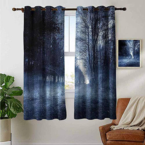 petpany Window Blackout Curtains Halloween,Ghostly Haunted Forest,for Room Darkening Panels for Living Room, Bedroom 52