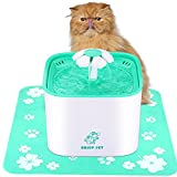 ENJOY PET Cat Water Fountain 2L Automatic Dog Water Dispenser Includes Filter and Anti-Skid Mat - Drinking Water Fountain with Quiet Water Pump for Cats - Dogs - Birds and Small Animals (Green)