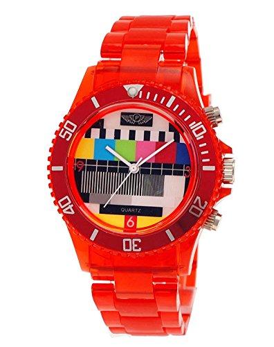 (NY London Retro Classic Unisex Testpage Closedown TV Screen Test Pattern Women Men Plastic Bracelet Watch Ladies Watch Mens Watch Wristwatch Red Transparent including Watch Box and Bracelet)