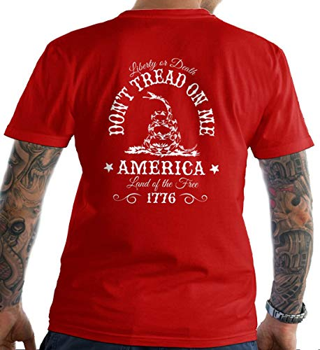 Sons Of Liberty Don't Tread on Me. Liberty or Death. Red/LRG T-Shirt. Made i.