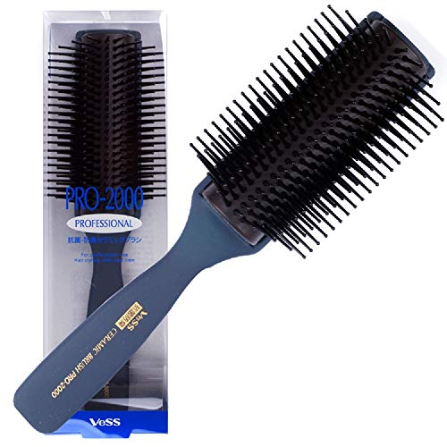 - Vess Pro-2000 Professional Hair Brush Tourmaline Ceramic 9 Row Round Tip Curved Pad Anti-static Natural Rubber Specialized Pin Structure