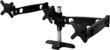 ARCTIC Z3 Pro (UK) - Desk Mount Triple Monitor Arm with 4-Ports USB 3.0 Hub for 13 - 30 Inch I Up to 10kg weight capacity I 360 degree rotation - Black