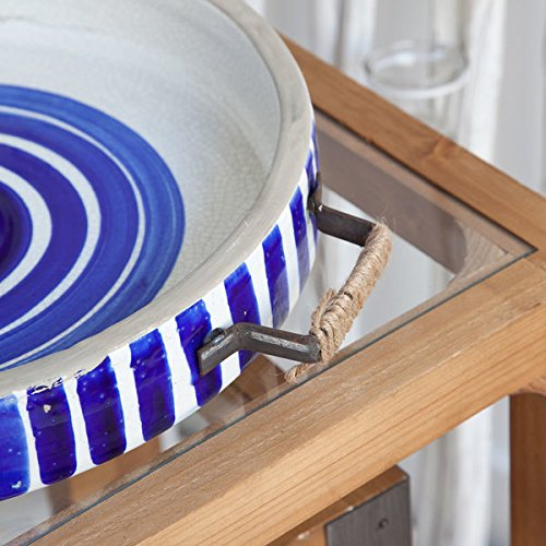 Solatta Blue/White Ceramic Hand Painted Serving Tray