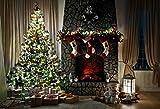 7x5ft Christmas Tree Decorating Photography Backdrops Seamless Cloth Gift Socks Brick Fireplace Photo Background Studio Prop
