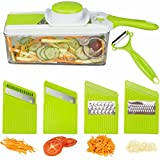 Brieftons Mandoline Slicer: Adjustable Mandolin with 3 Thickness Settings, 4 Blades, Food Container, Safety Food Holder, Bonus Peeler - All-in-One Vegetable Cutter, Slicer, Grater & Julienne Slicer
