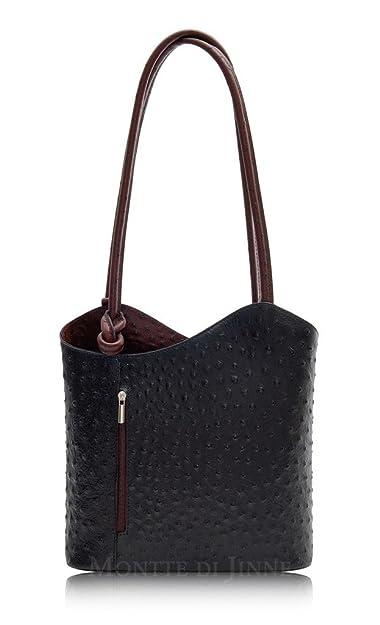 Womens Ostrich Leather Handbag BackPack Rucksack Converts to Over Shoulder Bag