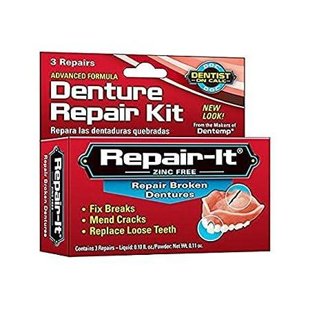 Dentemp Denture Repair Emergency Denture Repair Kit Safe & Easy To Use- 3 Repairs HealthCentre 2719565