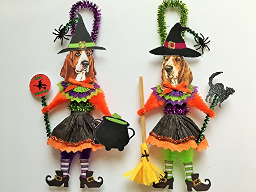 Basset Hound HALLOWEEN WITCH ORNAMENTS Vintage Style Dog Chenille Ornaments Set of 2
