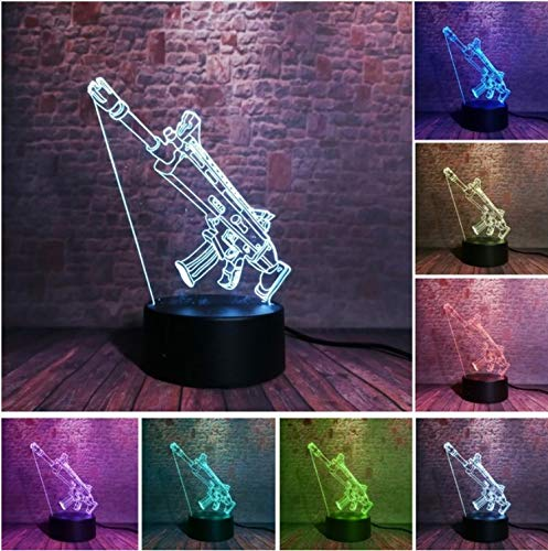 KLSOO 3D Battle Weapon Sniper Rifle Silent Gun Led 7 Colors Touch Night Light Decor Boys