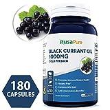 Black Currant Oil 1000 Mg 180 Powder Capsules (Non-GMO & Gluten Free) Cold-Pressed Pure Black Currant Seed Oil - Hexane Free - 140mg GLA - Regulates Hormonal Balance - 100% Money Back Guarantee!