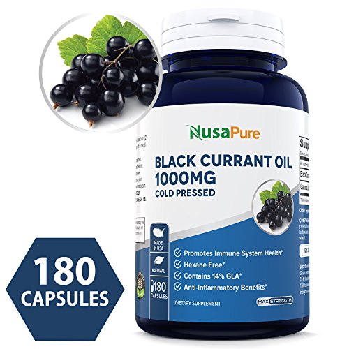 Black Currant Oil 1000 Mg 180 Powder Capsules (Non-GMO & Gluten Free) Cold-Pressed Pure Black Currant Seed Oil - Hexane Free - 140mg GLA - Regulates Hormonal Balance - 100% Money Back Guarantee!