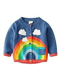 Mud Kingdom Girls Cardigan Sweater Cute Rainbow and Clouds