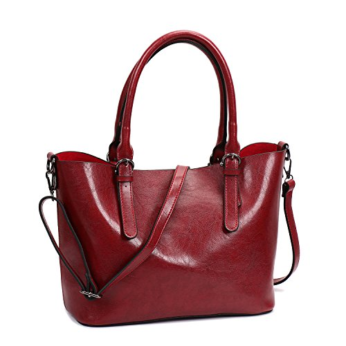 Women PU Leather Shoulder Bag Tote Satchel Red - 9