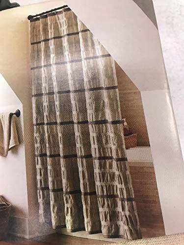Threshold Shower Curtain Tan and Brown Seersucker ()
