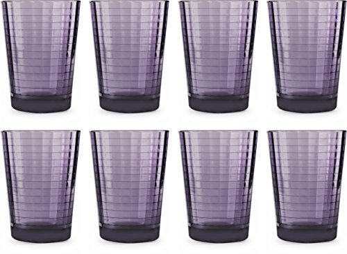 Circleware 44823 Plum Juice Drinking Glasses, Huge Set of 8, Heavy Base Tumbler Beverage Ice Tea Cups, Home & Kitchen Entertainment Glassware for Water, Milk, Beer, Whiskey, 7 oz, Purple For Sale