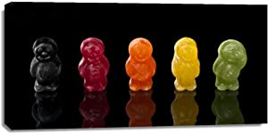The Print Mint Canvas Print Wall Art - Assaf Frank - Jelly babies sweets in a row - Children''s Art Food Photography Humor Contemporary Artwork on Canvas Stretched Gallery Wrap. Ready to Hang - 54x27″