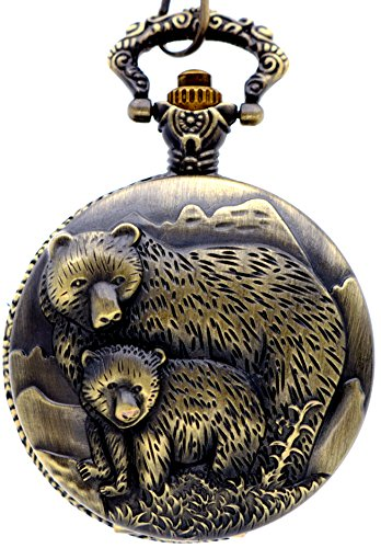 Dress Mens Bears Watch - New Brand Mall Classic Vintage Bronze Two Bear's Antique Design Case for Men's Quartz Pocket Watch with Chain