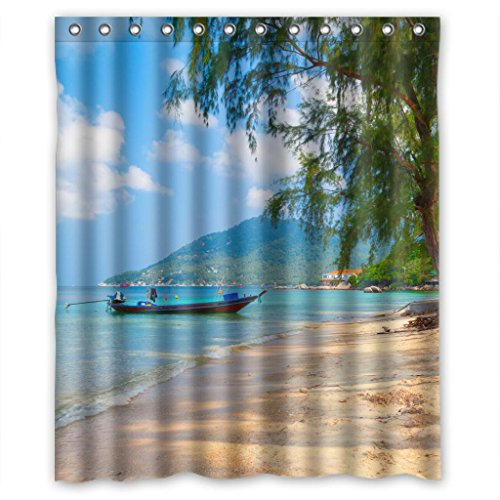 (Charming sunny seascape scenery beach resort Shower Curtain Measure)